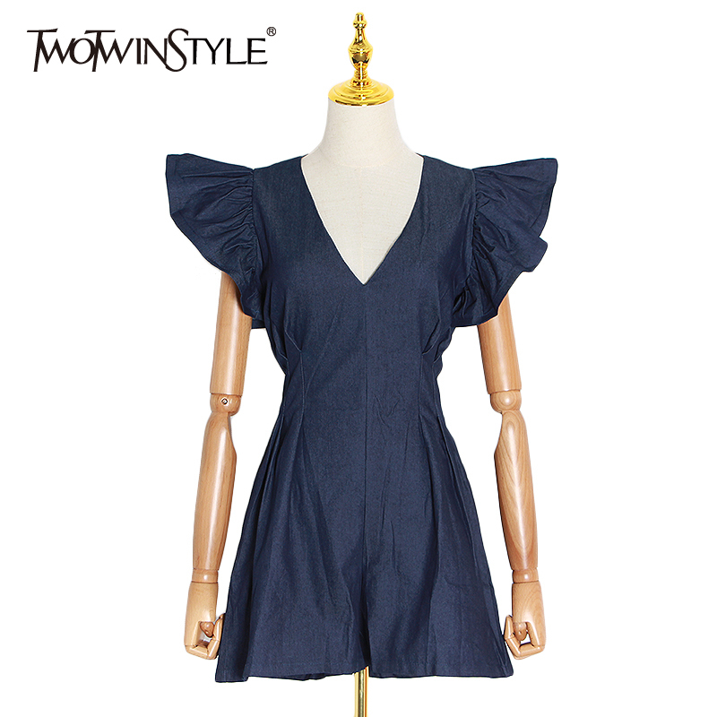 TWOTWINSTYLE Elegant Jumpsuits For Women V Neck Ruffle Sleeve High Waist Ruched Playsuit Female 2020 Spring Fashion Clothing New