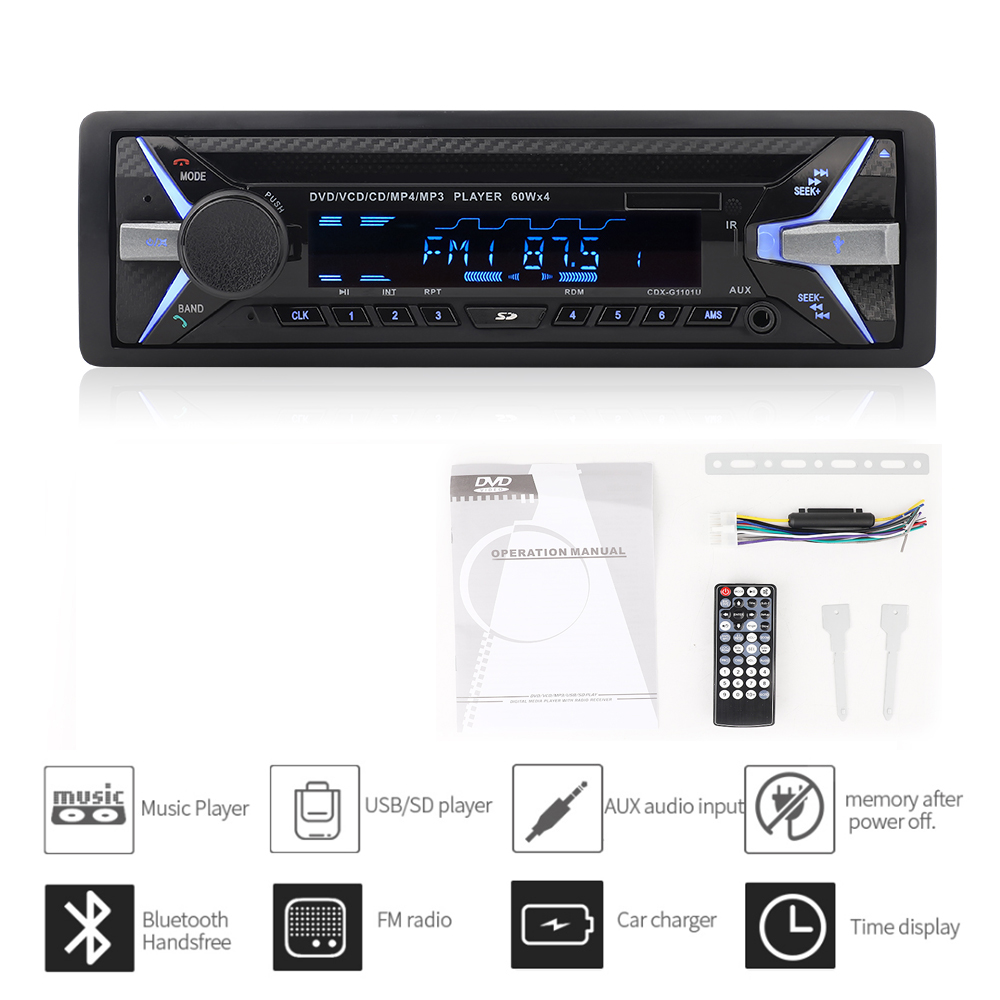 Dashboard 4 * 60W <font><b>Car</b></font> DVD Radio Bluetooth FM <font><b>CD</b></font> Receiver VCD <font><b>MP3</b></font> MP4 SD <font><b>USB</b></font> Single Din <font><b>Car</b></font> Multimedia <font><b>Player</b></font> Remote Control image