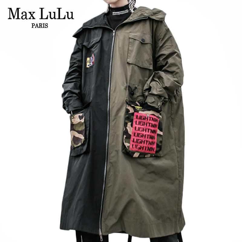 Max LuLu Fashion Korean Style Ladies Autumn Punk Streetwear Womens Patchwork Vintage Hooded   Trench   Long Coat Printed Windbreaker