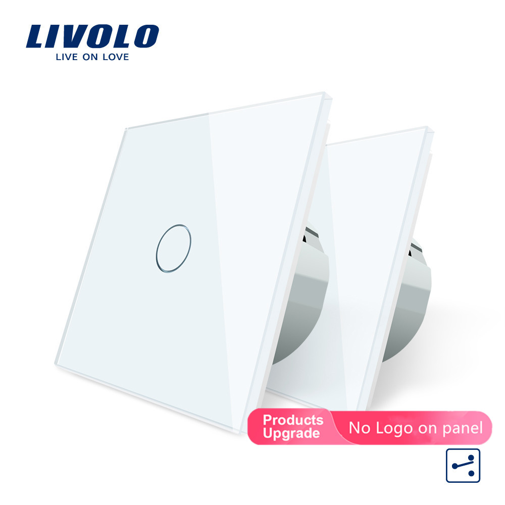 Livolo EU Standard 2 Ways Control Wall Touch Screen Switch, 7Colors CrystalPanel,220-250V,cross/through Switch,2pcs/pack,no Logo