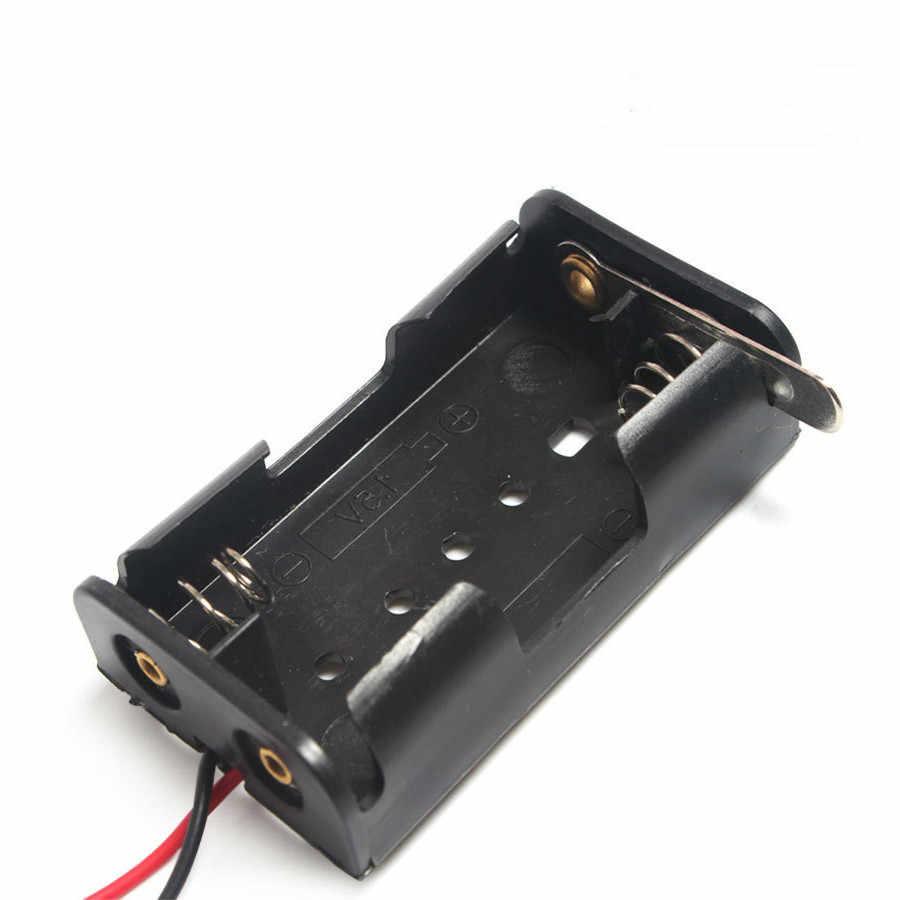 Support de piles AA 2X1.5V | Boîte de rangement avec lame en métal, boîte de rangement de commutateurs, plaque métallique noire, Robot expérience