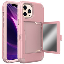 Funda de lujo con armadura de espejo para iPhone, funda con soporte con ranuras para tarjetas monedero, 12, Mini, 12 Pro, MAX, 11 Pro, SE, 2020, XS, XR, 8, 7, 6 Plus