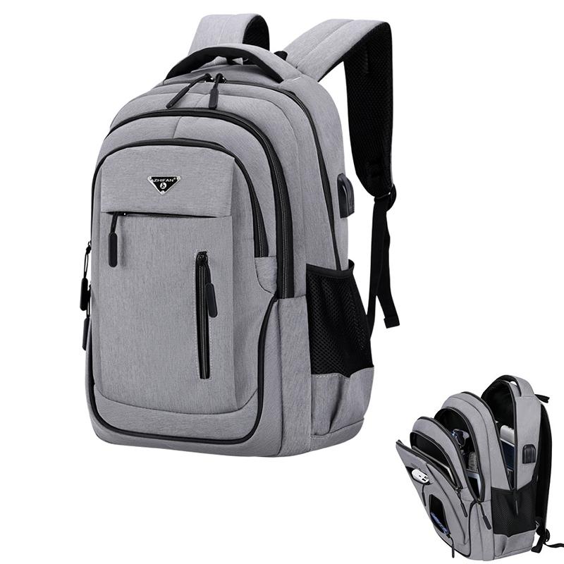 Big Capacity Men Backpack Laptop 15.6 Oxford Gray Solid High School Bags Teen College Student Back Pack Multifunctional Bagpack