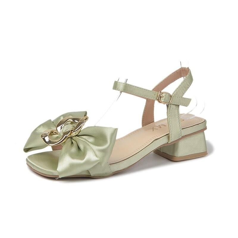 fivela de salto grosso sandálias doces cristal