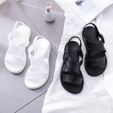 Women Flat Sandals Gladiator Open Toe Buckle Soft Jelly Sandals Female Casual Summer Flat Platform For Girl Beach Shoes soft beige metallic buckle flat sandals