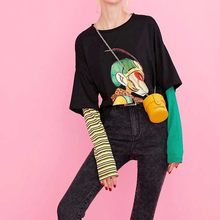 NiceMix Katoen Cartoon Print Gestreepte T-shirts Vrouwen 2019 Herfst Mode Oversize Casual Fake tweedelige Tee Koreaanse Punk T-shirt(China)