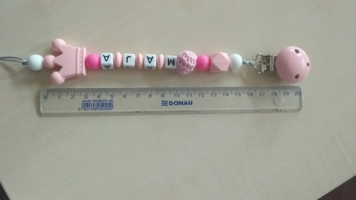 1pcs Pink Silicone Personalised Name Baby Pacifier Clips Crochet Beads Silicone Crown Pacifier Chain Holder Baby Shower Gift 5