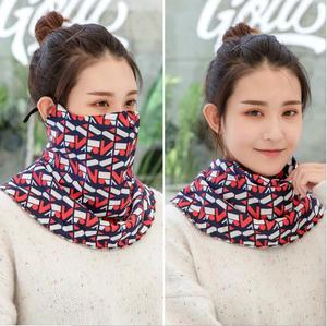 Image 3 - Новинка Осень зима, многофункциональная Женская модная уличная маска с принтом «Три в одном», теплая бархатная маска для шарфа
