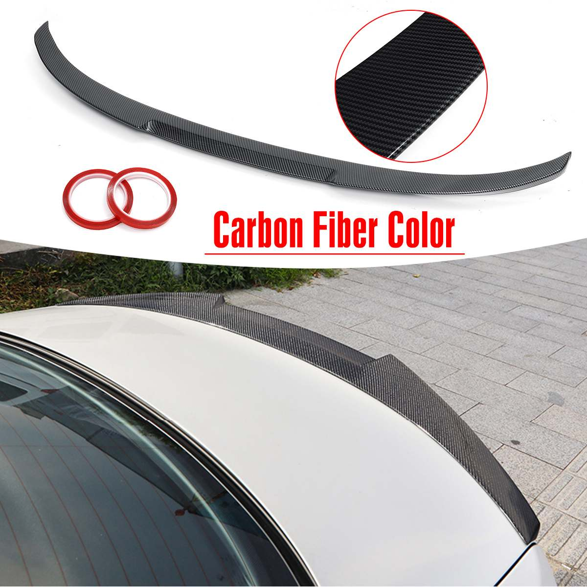 ABS Carbon Fiber Color Trunk Boot Lip Spoiler Tail Wing M4 Style For BMW E90 2006-2011 3 Series Sedan M3 2008-2012 image