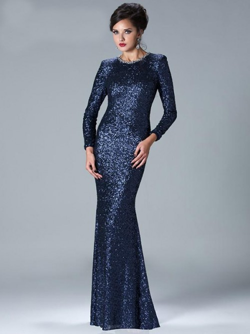 2020 Elegant Sequin Mermaid Evening O Neck Long Sleeves Floor Length Prom Gown Vestido De Noche Mother Of The Bride Dresses