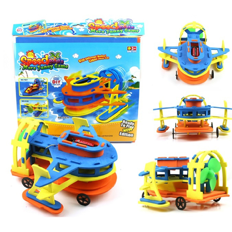 Air Power Double Layer Shui-lu Dual Purpose Car And Boat DIY Electric Assembled Model Eva Scientific And Educational Toy Equipme
