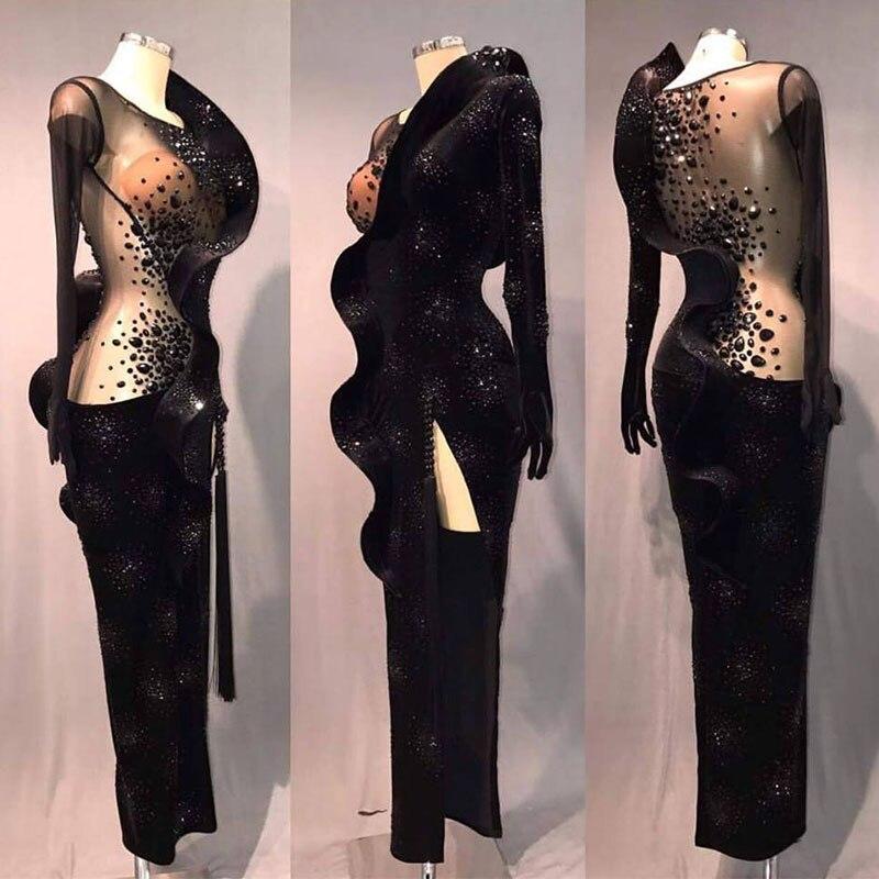 Latin Dance Dress Women Black See Through Ruffle Long Sleeves Salsa Tango Rumba Ballroom Latin Dance Competition Long Dress