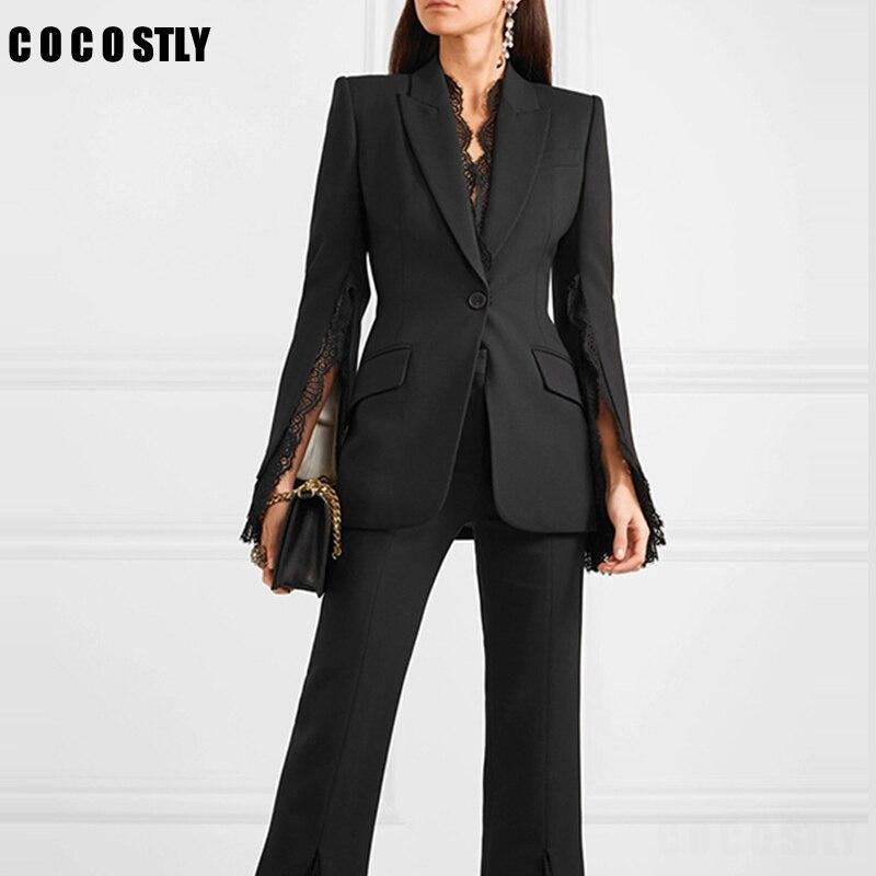 Fashion Cloak Cape Blazer Women Coat Lace Stitching Split Long Sleeve Casual Suit Jacket Elegant White Black Feminine Blazer