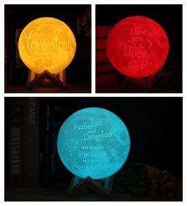 Image 4 - 写真/テキストカスタム 3D 印刷ムーンランプ夜の光カスタマイズされたパーソナライズされた月面 usb 充電式ランプタッチ/タップ/リモートスイッチ