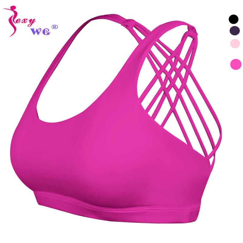 SEXYWG Sport Bra For Women Breathable Yoga Tops Pad Fitness Running Gym Sexy Crop Push Up Brassiere Cross Back Strap Sports Bras