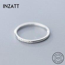 INZATT Настоящее серебро 925 проба Циркон круглое геометрическое кольцо для модных женщин милые ювелирные изделия минималистичные аксессуары подарок
