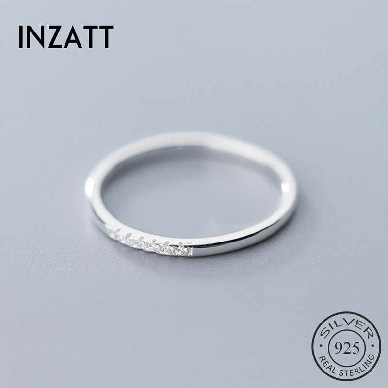 INZATT Real 925 Sterling Silver Zircon Round Geometric Ring For Fashion Women Cute Fine Jewelry 2019 Minimalist Accessories Gift