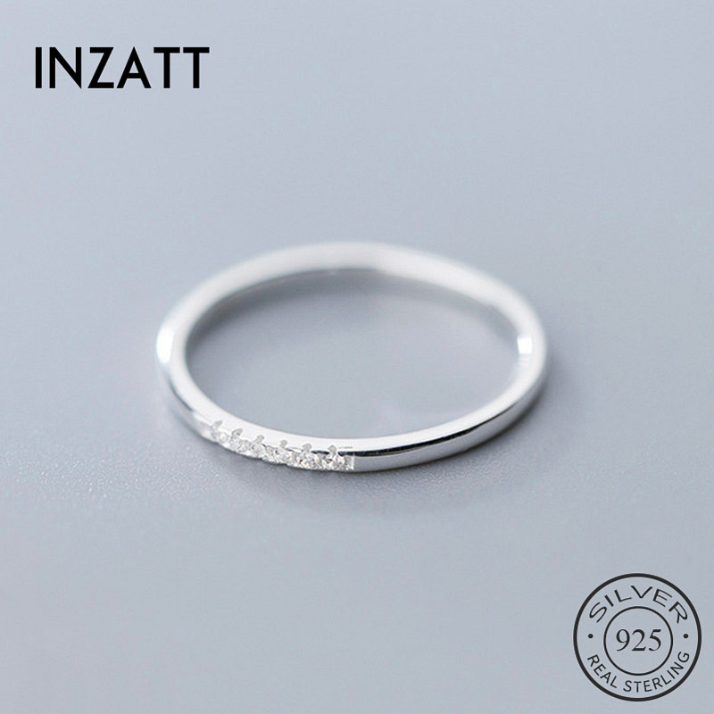 INZATT Real 925 Sterling Silver Zircon Round Geometric Ring For Fashion Women Cute Fine Jewelry 2019 Minimalist Accessories Gift(China)