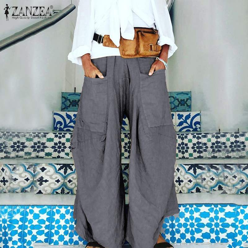 2019 Plus Size ZANZEA Women Casual Solid Elastic Waist Pockets Party Long Harem Trousers   Wide   Led   Pants   Pantalons Femme Robe