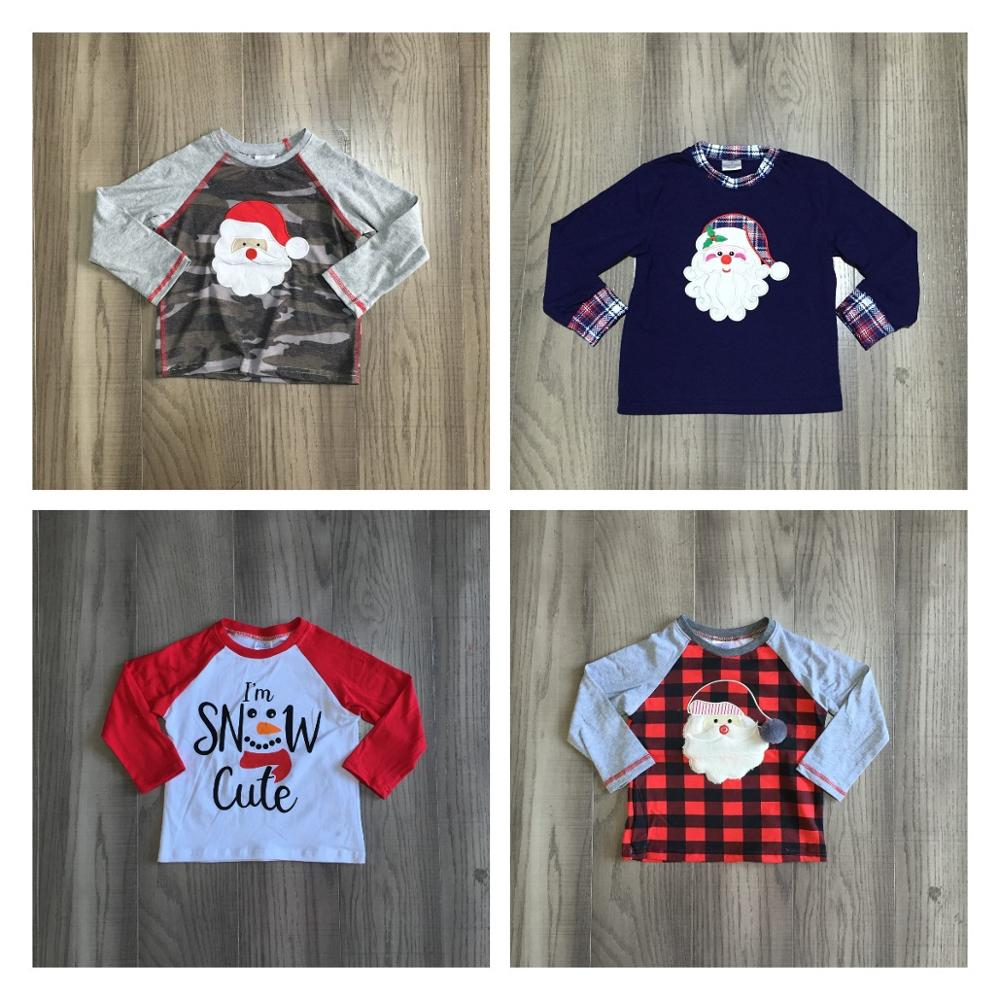 Girlymax Christmas Fall/Winter baby Boys Santa Claus Snowman Camo Plaid boutique t-shirts clothes cotton top raglans long sleeve 1