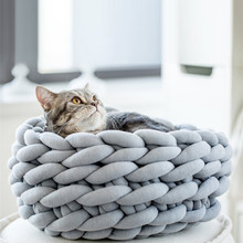 Вязаная кровать для собаки, домашнего питомца кошка кровать подушка в виде щенка дом мягкая теплая собака коврик для животных мини щенок собака кровать комфортная гнездо питомник товары для домашних животных