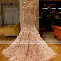 Sparkly Sequin Mermaid Prom Dress 2020 Halter Long Sleeve Feather Evening Dress Women Formal Party Dress Women Evening Gowns