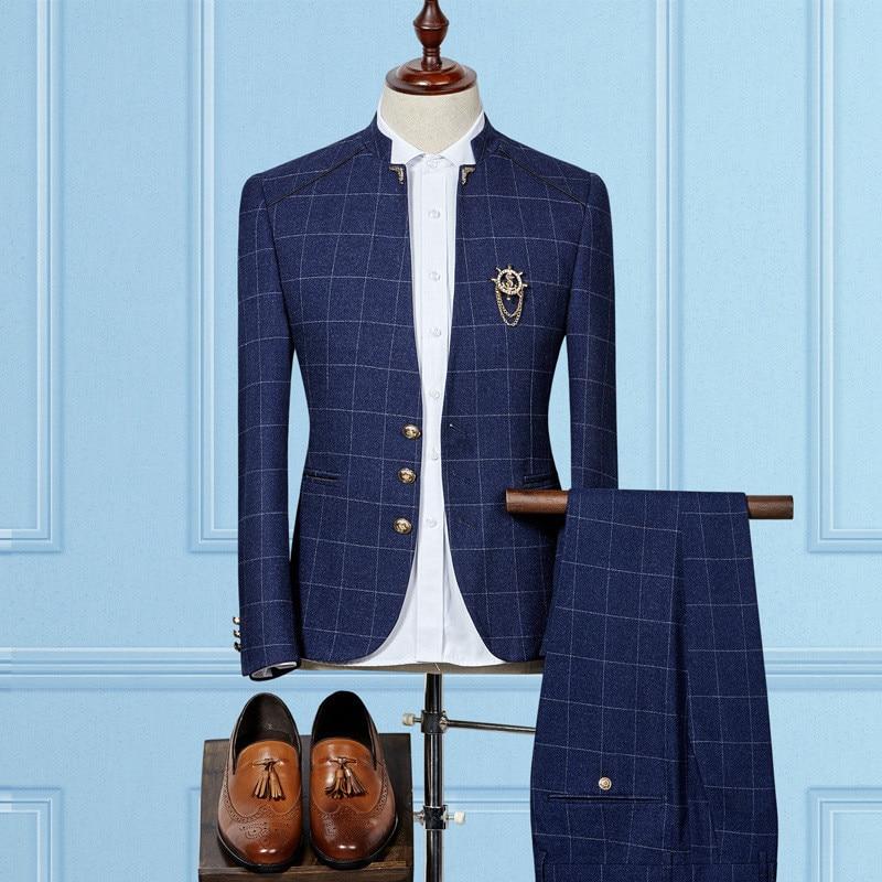 Men Suits костюм Men's Suit Collar Plaid Suit Men's Business Casual Suit Mens Suits Blaze With Pants Terno Masculino Slim Fit