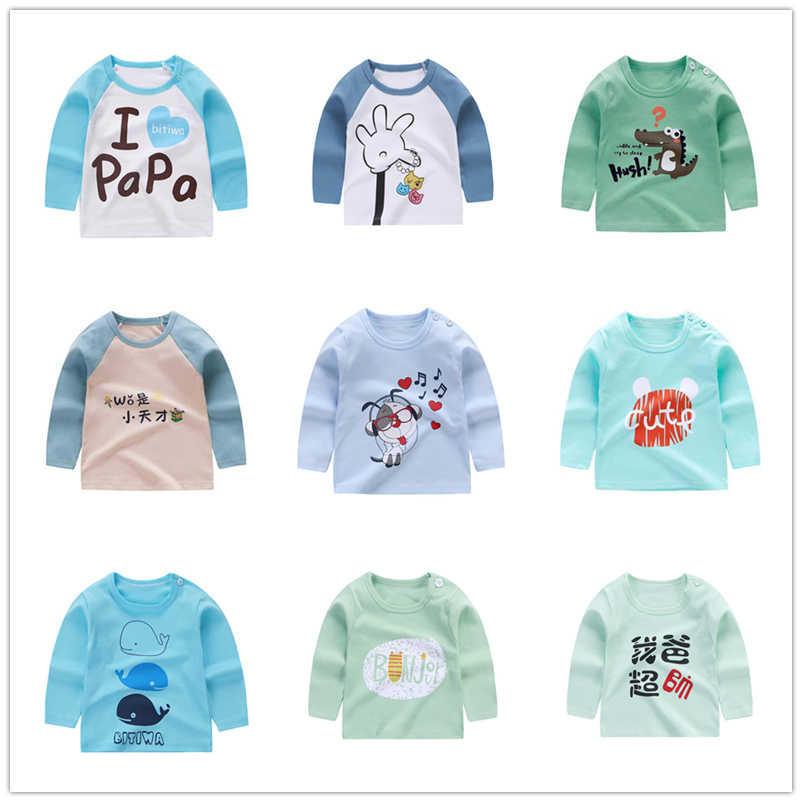 Ropa para niños, camiseta de manga larga, de algodón, para niñas, niños
