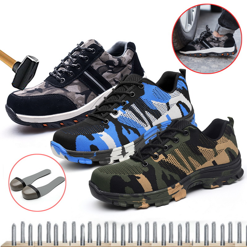 New Work Sneakers Indestructible Ryder Shoes Men And Women Steel Toe Air Safety Boots Puncture-Proof Breathable Shoes