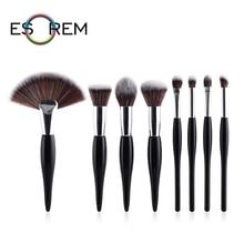 ESOREM 8pcs Wood Handle Makeup Brushes Tricolor Hair Loose Powder Flat Blending Tapered Highlight Dense Fan Pinceaux Maquillage