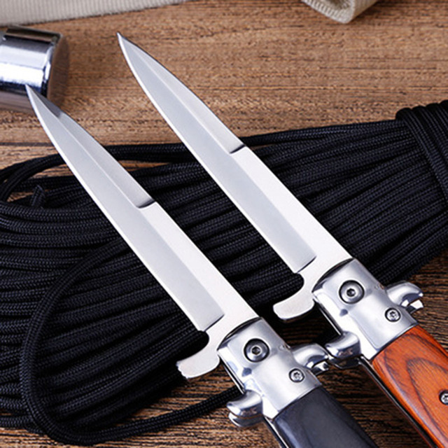 Mengoing Outdoor Survival AKC Multi-function Stiletto Folding Blade Knife with Flip Utility Fishing, Hiking, Diving Knives 3
