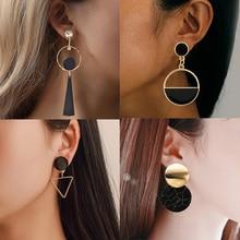 Pendientes de gota de Metal a la moda para mujer, pendientes redondos Vintage de declaración de oro, pendiente geométrico, joyería de moda 2019