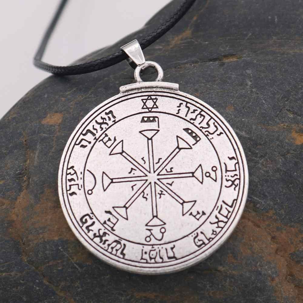 Pieczęć salomona słoneczny Amulet naszyjnik moc europa Fan mody pentagram słońca talizman klucz salomona Amulet wisiorek – biżuteria