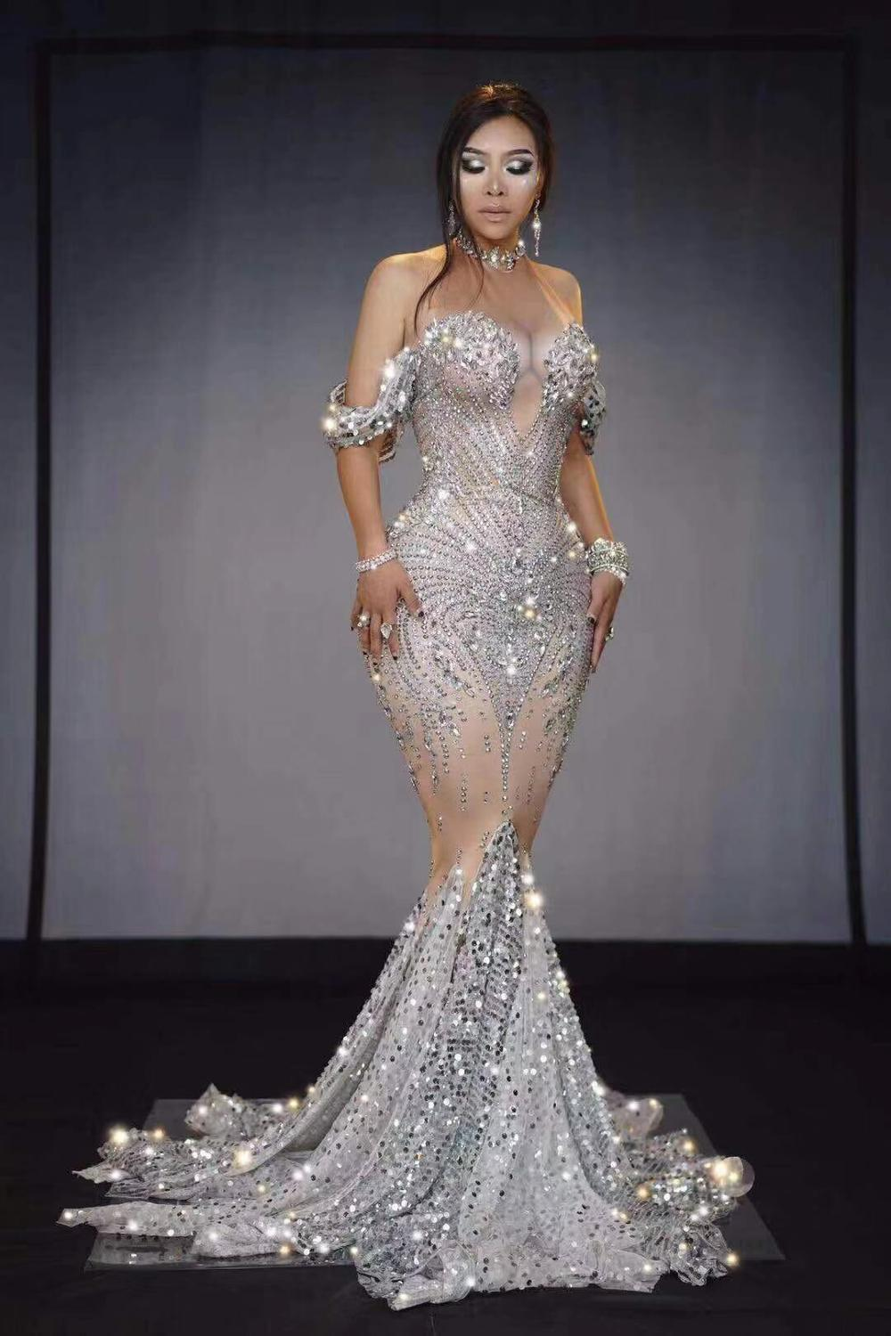 High Quality Celebrity Shining Beading Trumpet Long <font><b>Dress</b></font> Bodycon <font><b>DJ</b></font> Club Party Dancer Costume image