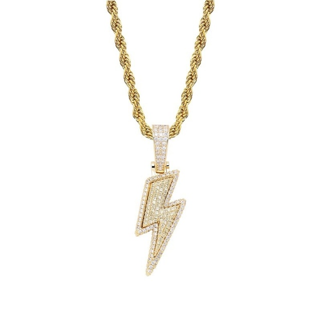 2021 Jewelry Fashion Retro Full Zircon Lightning Necklace Men's Hip Hop Party Locomotive Accessories Pendant Necklace Jewelry 4