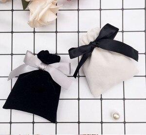 Image 5 - Pochettes cadeau bijoux en velours ruban de 7x9cm, 9x12cm, pack de 50 poches avec logos imprimés, cils, maquillage, rouge à lèvres, cordon