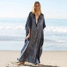 2020 حجم كبير مخطط الصيف بحر الشيفون قفطان شاطئ امرأة تونك حمام فستان رداء بلاج ملابس سباحة حريمي التستر # Q844