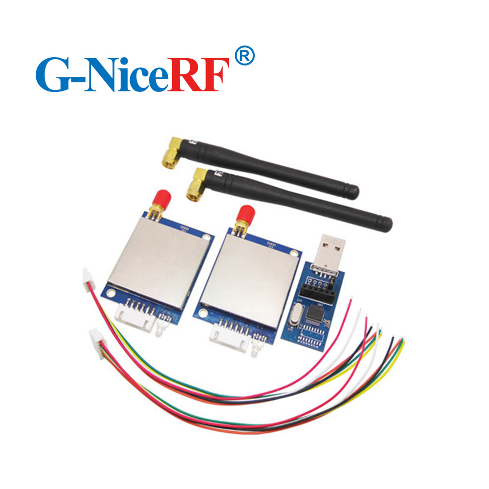 NiceRF 2pcs/lot  433MHz RS232 Interface Wireless Transceiver Module Kit  SV651 With Antennas And Usb Bridge Board