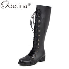 Odetina Women's Chunky Low Heel Ladies Fashion Cross Tied Comfort Shoes Round Toe Cut Out Lace Up Mid Calf Boots Autumn Elegant(China)