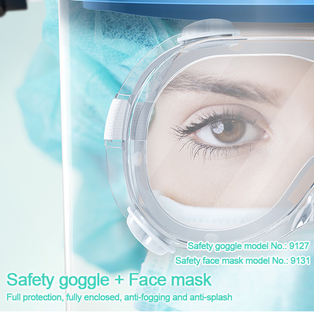 Disposable Full Face Mask Protect Anti Saliva / Foam Dust/Safety Shield Clear Face Mask Protect Eye Safety with 10pcs Shield 1