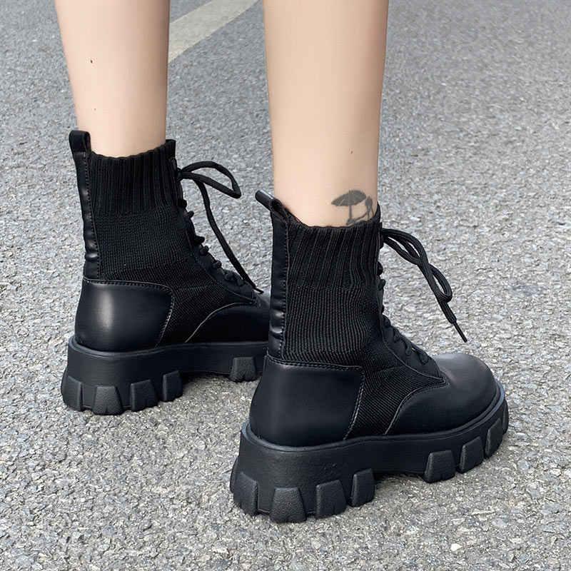 2020 novo exército combate tornozelo botas mulher sapatos casuais rendas até gótico preto meia plataforma botas de couro moda feminina botas mujer