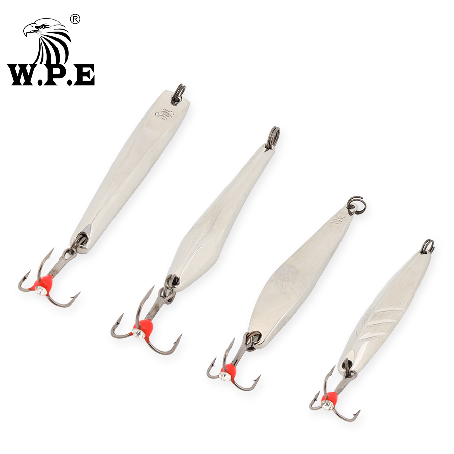 W.P.E Ice Winter Fishing Lure 1pcs 5g/10g/15g/20g/25g Balancers Hard Fishing Lure Spoon Metal Fishing Tackle Pesca Treble Hook
