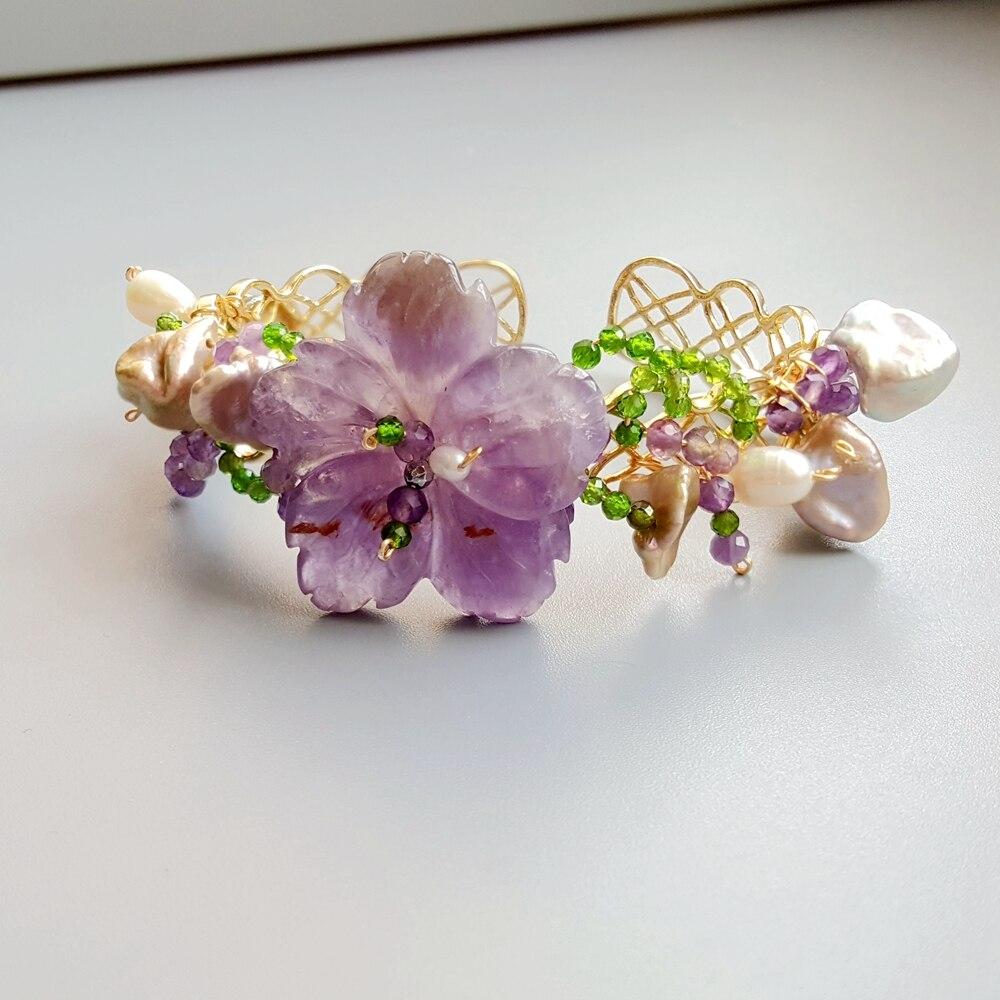 Lii Ji véritable améthyste Diopside perle d'eau douce Bracelet fait main bijoux Bracelet ouvert pour les femmes cadeau livraison directe
