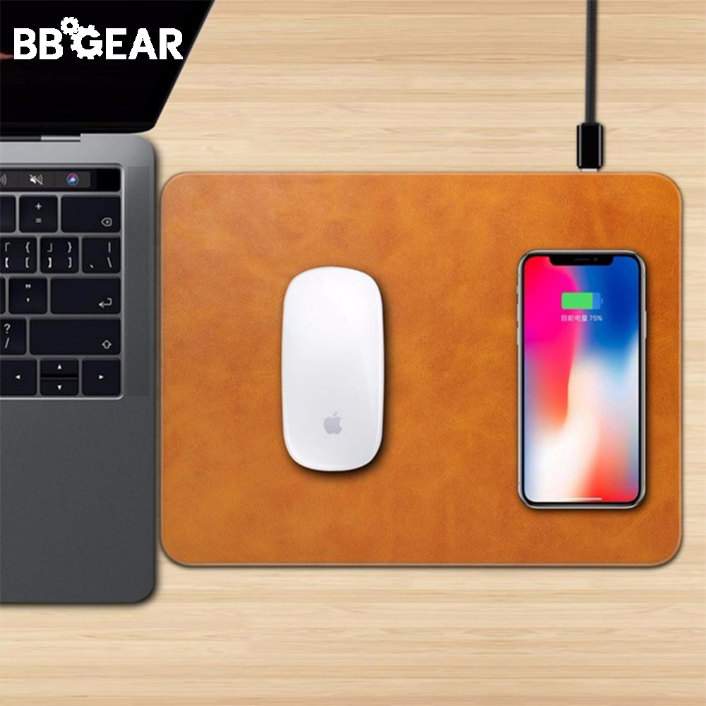 Mobile Phone Qi Wireless Charger Charging Mouse Pad Leather Fast Charging Mat for iPhone 11 Pro XS X 8 Samsung Galaxy S10 S9 S8