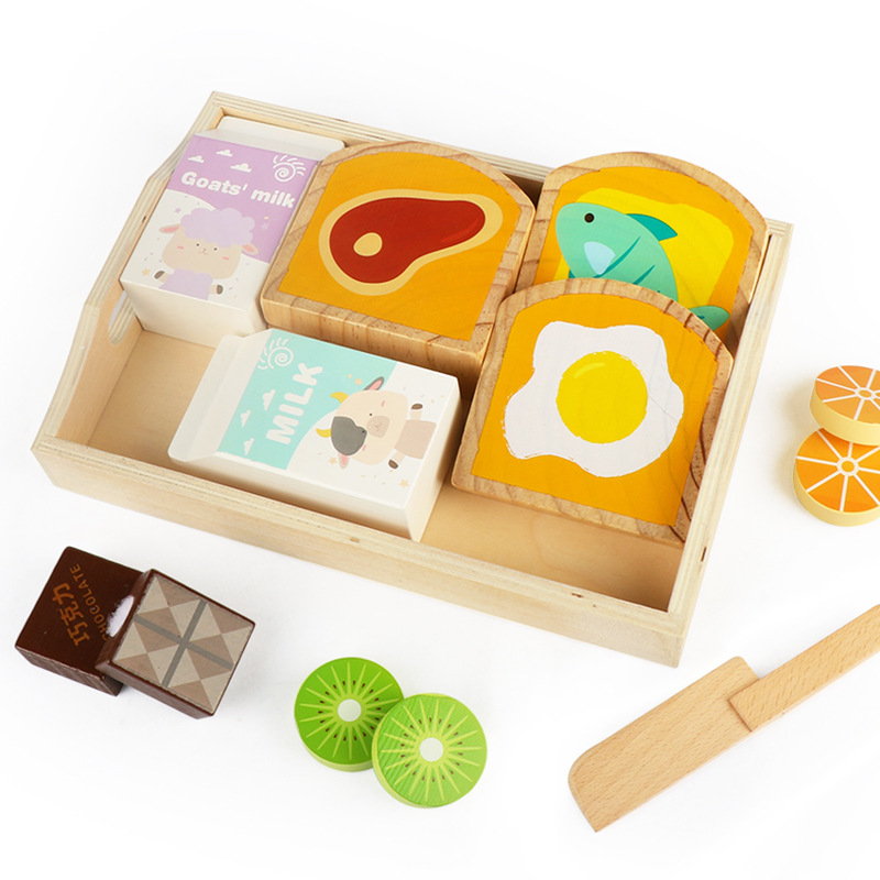 Baby Wooden Toys Pretend Play Kitchen Toys Cutting Toast Milk Learning Education Food Toys KidS Children Gifts