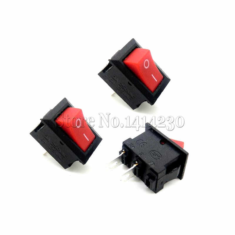 10 Buah Saklar Tombol Tekan 10X15Mm SPST 2Pin 3A 250V KCD11 Snap-In Di/off Perahu Rocker Switch 10MM * 15MM Hitam Merah dan Putih