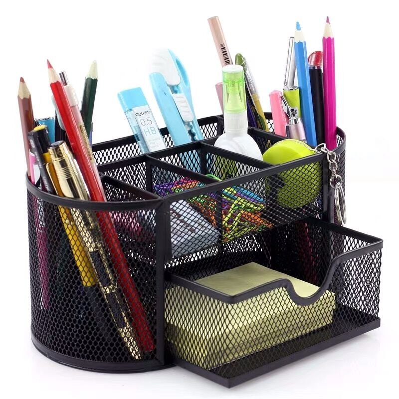 2020 Sharkbang Large Capacity 9 Cell Metal Desk Organizer Mesh Desktop Pencil Pen Sundries Badge Holder Storage Box Stationery