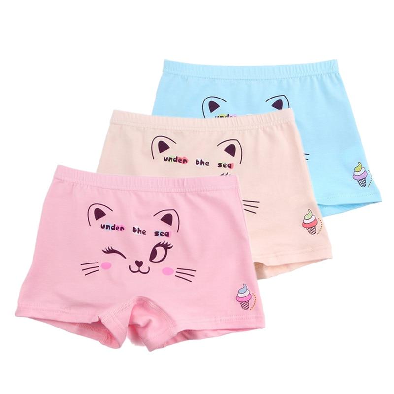 5 шт./лот; очаровательное удобное нижнее белье с рисунком кота для детей 1-10 лет; нижнее белье для девочек; короткие трусы-боксеры
