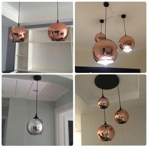 Image 4 - Zaktualizowane szkło lustrzane wiszące lampa w kształcie kuli miedziane złote srebrne Loft kuchnia wyspa stół wisząca lampa szklana kula zawieszenie