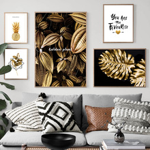 Golden Leaves Monstera Pineapple Quotes Wall Art Canvas Painting Nordic Posters And Prints Plant Pictures For Living Room